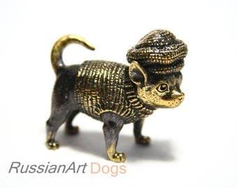 Chihuahua dog - a miniature statuette of bronze,  metal figurine