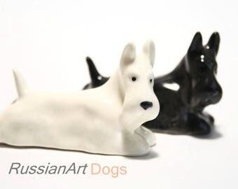 Scottish Terrier, Scotty dog porcelain figurine handmade statue