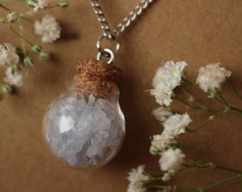 Crushed Celestite Necklace, Celestine Pendant, Crystal Pendant