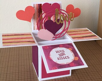 Handmade valentine's day/love card in a box,3D card,pop up card.
