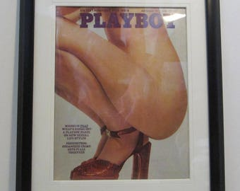 Vintage Playboy Magazine Cover Matted Framed : September 1973 - Ariel Jones