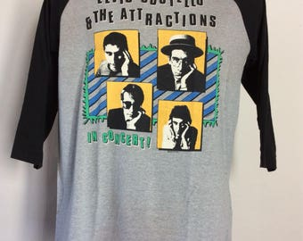 Vtg 1982 Elvis Costello And The Attractions Concert T-Shirt S/M 80s Raglan Jersey Style