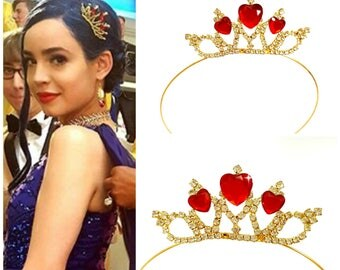 SALE !!!! Red Heart Crown Evie Descendants 2 Crown, Disney Descendants 2 Tiara ,Evie costume,Evie Gold Tiara Red Heart Crown Descendants