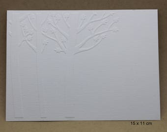 5 embossed cards - embossed trees