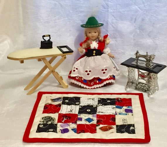 Miniature vintage doll house sewing machine, mini iron, ironing board and miniature handmade quilt