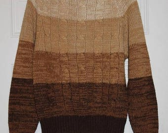 Feb Sale Vintage 70s Tan Gradient SPACE Dyed Cable Knit Retro Pullover Sweater Hippie M L