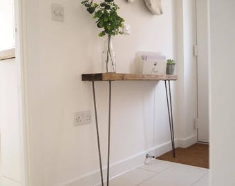 narrow console table with hairpin legs wooden rustic hallway table