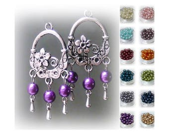 Earrings silver flower chandelier and pearl, choose your color, and fittings clip on or pierced