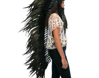 Extra Long Artisan Feather Headdress - Costume Headpiece Inspired by Native American Headdress aka Indian Headdress - SUPER BLACK Rooster