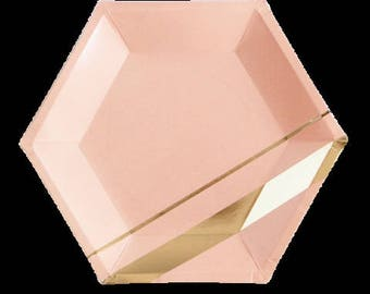 Pink & Gold Plate hexagon