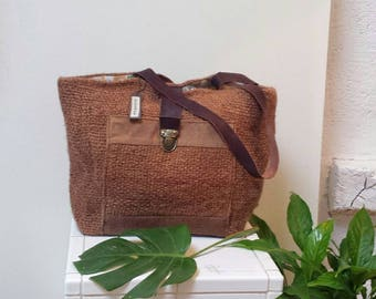 Mix of JUTE/handles canvas leather tote bag
