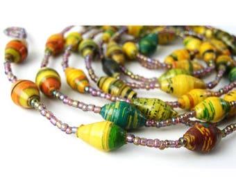 Colour Necklace, Costume Necklace, Bead Necklace, Eco Friendly Necklace, Long Bead Necklace, Gift Necklace Idea, Jewellery Necklace