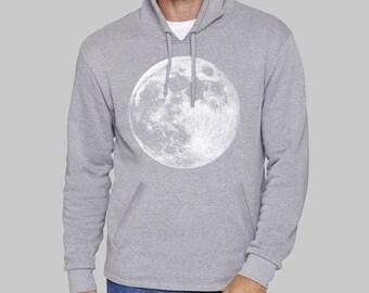 Gray Mens Pullover Hoodie, Full Moon, moon hoodie, sweatshirt for men, hoodies, sweatshirt, fleece, graphic hoodie