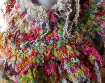 Very funky shoulder warmers wool art