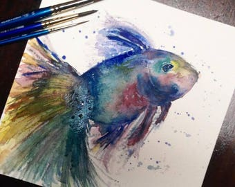 8x8 Abstract Watercolor Beta Fish Painting Print
