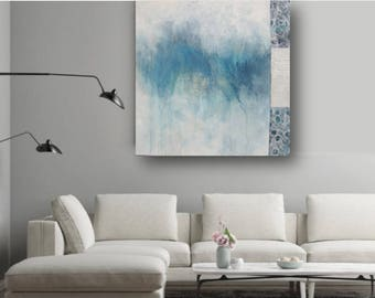 Large Abstract Painting Original Blue Abstract Art Minimalist Art Contemporary wall decor Abstract Painting by JDArtiste