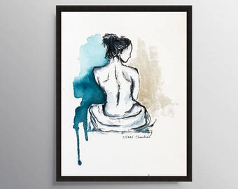 Nude Art, Naked Woman art, Female figure, Bedroom art, Woman Illustration, Bathroom Wall art, Minimalist art, Anniversary gift, Gift for her