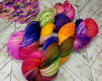 "Cottage DK , Hand Dyed Yarn, DK Yarn  4 ply,  SW Merino, 270 yards, ""Glorious Chaos"""