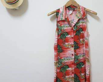FREE SHIPPING, Vintage dress,Summer dress, Hawaii dress, Beach dress, Rayon dress