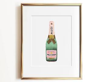Wall art, Champagne print, PRINTABLE art, Glam decor, Pink and green, Pink and gold art, Watercolor print, Glam art prints, Wall decor