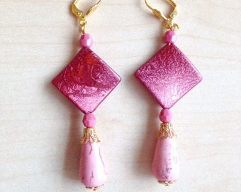 Long earrings pink and gold