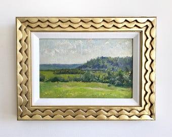 Green and Blue Landscape Original Vintage Oil Painting Signed Framed