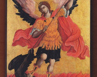 Archangel Michael by Theodoros Poulakis, 17th century,Cretan School.Christian orthodox icon.FREE SHIPPING
