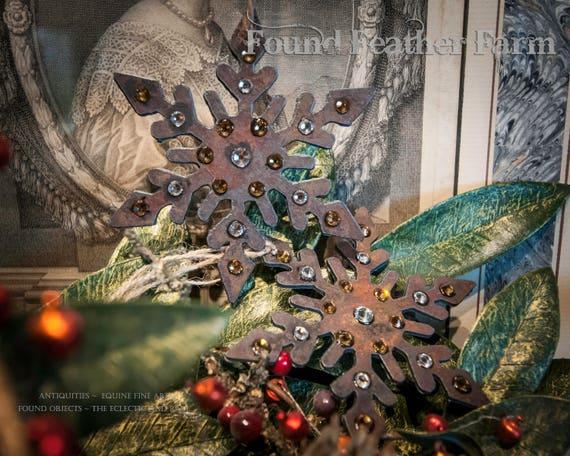 Handmade Rusted Metal Jeweled Snowflake