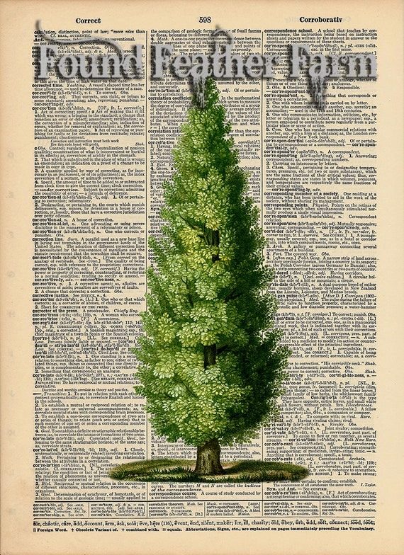 "Vintage Antique Dictionary Page with Antique Print ""The Towering Tree"""