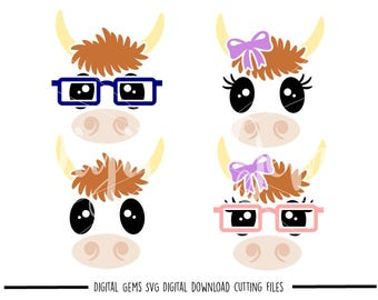 Cow faces svg / dxf / eps / png files. Digital download. Compatible with Cricut and Silhouette machines. Small commercial use ok.