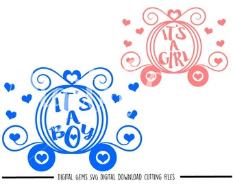 Boy And Girl Carriage svg / dxf / eps / png files. Digital download. Compatible with Cricut and Silhouette machines. Small commercial use ok