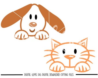Peeping Cat and Dog svg / dxf / eps / png files. Digital download. Compatible with Cricut and Silhouette machines. Small commercial use ok.