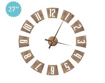 Arabic Numerals Clock Wall Clock Walnut Decor Rustic Wall Clock Living Room Clock Wooden Wall Clock Wall Decor Office Clock Brown Clock