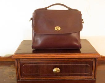 Coach Court Bag In Mahogany (Brown)  Leather With Brass Hardware - Strap Missing