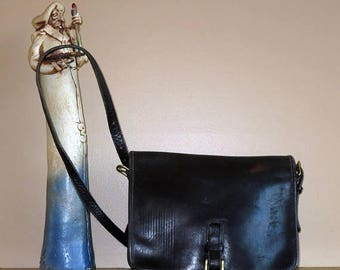 Back To School Sale Coach Large Saddle Pouch In Black Leather- Made In New York City At 'The Factory'- Distressed