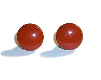 Vintage Texas Longhorn Burnt Orange Metal 12mm Button Earrings