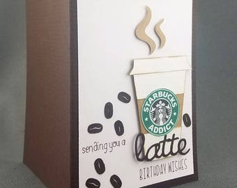 Handmade Happy Birthday Starbucks Coffee Card