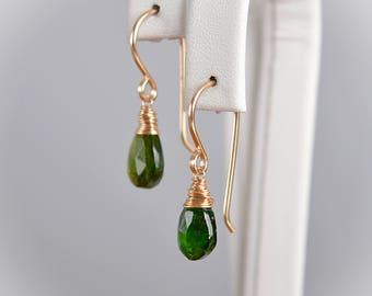 Chrome Diopside Earrings, Natural Emerald Green Dangle Gemstone Earrings , Handmade Jewelry Gift 14K Rose Gold Filled Sterling Silver