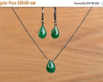 Emerald Jewelry Set: Genuine Natural Emerald Earrings and Necklace, Long Earrings, Silver or Rose Gold Green Emerald Jewelry, May Birthstone