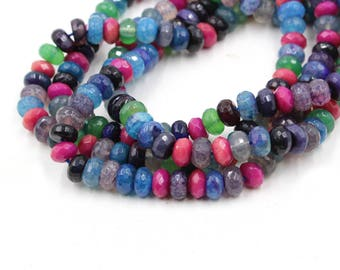 "multi color 6mm faceted jasper rondelle beads 15"" strand"