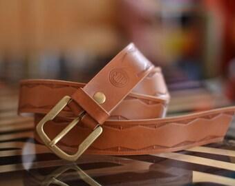 Leather belt/Natural Leather belt/Handmade belt/Handmade Hand-tooled belt/Natural Leather