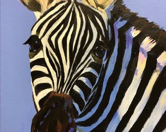 """Zebra in Blue - Acrylic Painting on 12""""x16"""" Canvas - Free shipping!"""