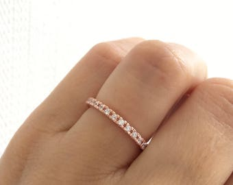 Rose Gold Eternity Ring. Rose Gold Wedding Band. Fine Cz Eternity Band. 2MM Eternity Band Ring. Rose Gold Stacking Ring. Stackable Bands.
