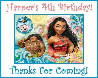 """18 Personalized Moana Birthday party stickers,3 1/4"""",Favors, Tags, Loot Goody Bag Labels, Cut and Peel, Custom Made"""