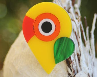 Lovebird Parrot Bird Acrylic Brooch - abstract handmade laser cut plastic pin