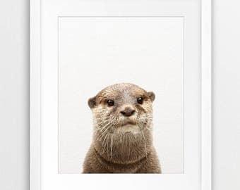Otter Print, Otter Photo, Sea Animal Print, Sea Animal Wall Art, Nursery Decor, Modern, Kids Room Art Prints, Digital Download Printable Art