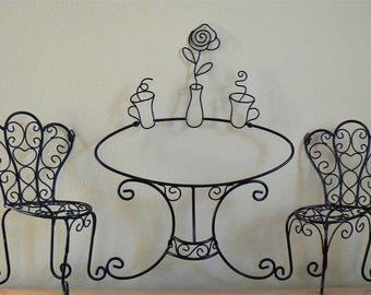 Wire Cafe Wall Decor, Large Metal Cafe Wall Art, Vintage Kitchen, Cafe  Decoration