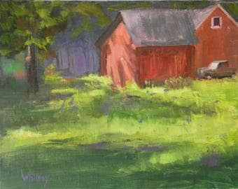 Landscape painting, Barn, Oil painting, original painting, Oil paintings, Original Paintings, Small painting, Plein Air, Canvas Sue Whitney
