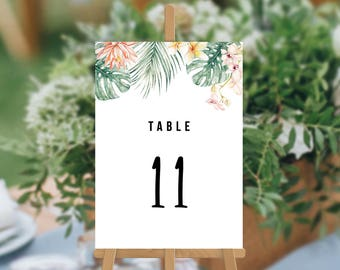 SALE, Tropical Wedding, Professionally Printed Wedding Table Numbers, Watercolour Florals, Wedding Table Cards, Kimberley Suite
