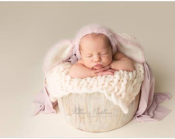 Newborn bonnet, Newborn hat,Newborn bunny,Alpaca bonnet,photo props, Photography props, Easter photo props,Newborn props,baby props